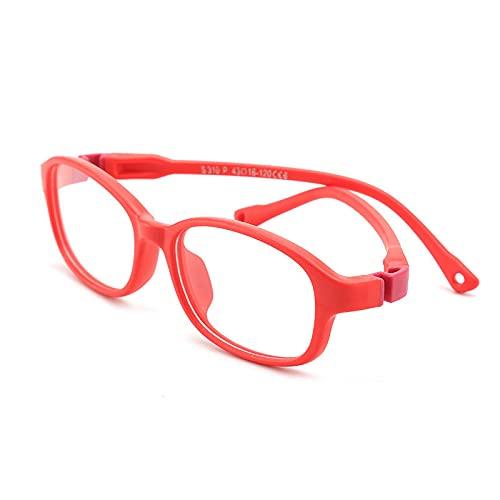 YULE Gafas de silicona redondas para niños, lentes ópticas, lentes transparentes para ordenador, para niños, niñas, gafas (color del marco: rojo)