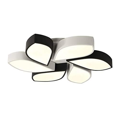 Lampe de plafond de chambre à coucher Chaud romantique Led Plafonnier Simple en forme de fleur Lumière de contrôle à distance de salon Lampe (Color : Three-color dimming)