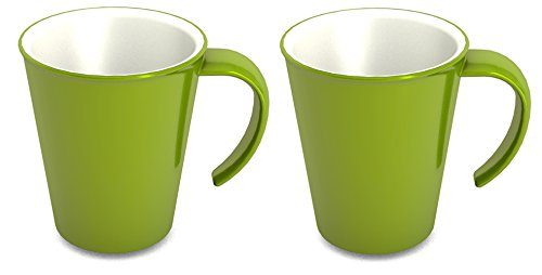 Ornamin Kaffeepott 300 ml grün, 2er-Set (Modell 1201) / Kaffeebecher, Mehrwegbecher Kunststoff