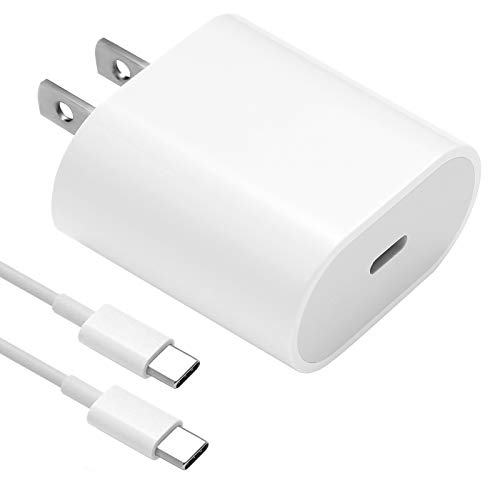 18W USB C Fast Charger for 2020/2018 iPad Pro 12.9 Gen 4/3, iPad Pro 11 Gen 2/1, iPad Air 4, Google Pixel 4 XL/3a XL/3/2, Samsung Galaxy S20/S10/S9, PD Wall Charger with USB C to USB C Charging Cable