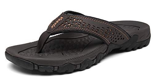 Chanclas Hombre Verano Zapatillas Flip Flops Sandal Zapatos de Playa y Piscina Marrón43