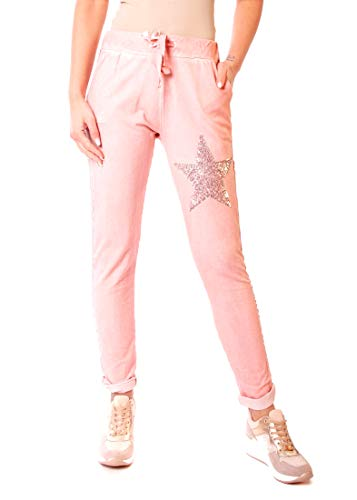 Easy Young Fashion Damen Hose Jogginghose Lang Sporthose Vintage Freizeit Sweatpants Baumwolle mit Seitenstreifen (38, Mit Pailletten Stern Rosa)