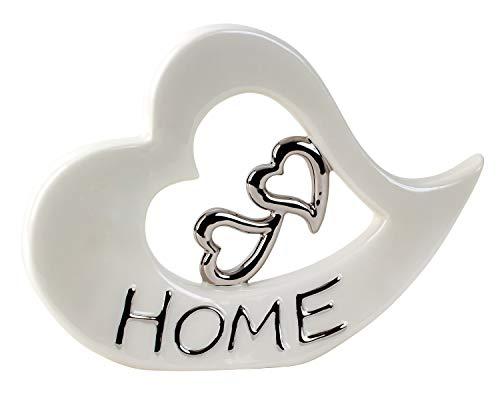 Escultura Moderna Decorativa Figura corazón realizada en cerámica Blanca y Plateada 22x29 cm