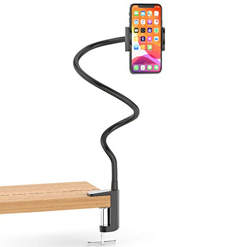 Stainless Steel Gooseneck Cell Phone Holder, Universal 360° Flexible Mobile Phone Stand | Lazy Arm Holder Clamp Mount Bracket Bed Dock Compatible with iPhone 12/11 Pro Max Xs S20 S10 Note 20 Note 10