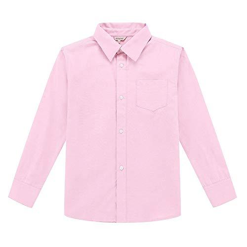 Bienzoe Jungen Schuluniform Lange Ärmel Knopf Unten Oxford Hemd Rosa Größe 5
