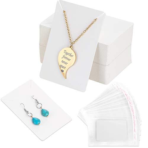 100Pcs Tarjetas Exhibición de Joyería con 200 Bolsas Autoadhesivas ,Tarjetas de Exhibición de Pendiente Collar Kraft Exhibición de Pendientes de Papel,Tarjetas para Pendienetes Collar Joya Mostrar