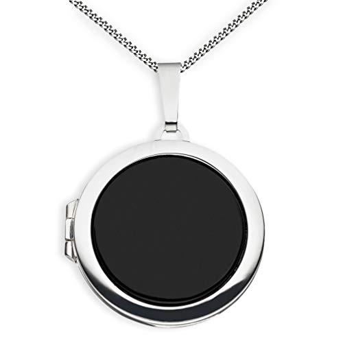 Medaillon Onyx Hochglanz rund 925 Sterling Silber zum öffnen für Bildereinlage 2 Fotos Amulett von Haus der Herzen® + Kette mit Schmuck-Etui