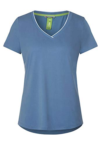 Street One - Maglietta in jersey da donna, tinta unita Smoky Blue (blu). 42