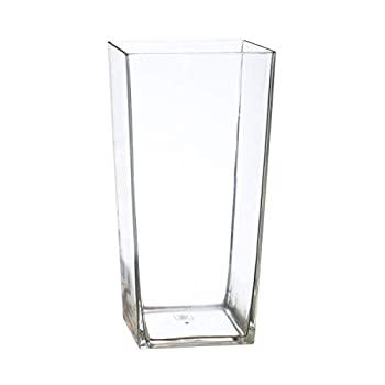 Royal Imports Flower Vase Acrylic Square Tapered Decorative Centerpiece for Home or Wedding - Non Breakable Plastic 5 X10  Tall Cube Shape- Clear