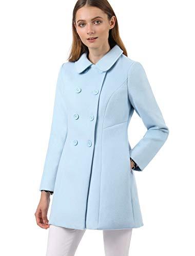 Allegra K Abrigo Collar Peter Pan Trench Doble Botonadura de Mujer Azul XS