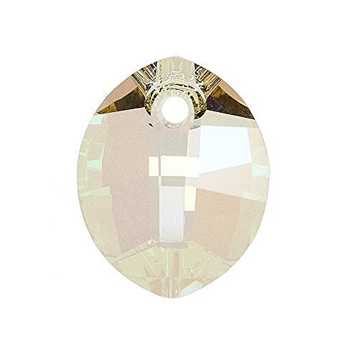 1 colgante con elementos de Swarovski – hoja pura (6734), verde brillante, 14 mm (Swarovski Elements colgante – hoja pura (6734), verde luminoso.