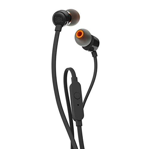JBL Tune 110 – In-Ear Kopfhörer mit verwicklungsfreiem Flachbandkabel und Mikrofon in Schwarz – Für grenzenlosen Musikgenuss mit der Pure Bass Sound Technologie