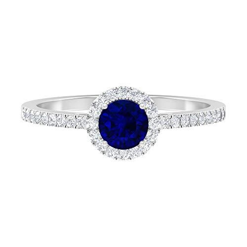 Anillo de topacio azul cielo de 5 mm, anillo de diamantes HI-SI, anillo de compromiso de oro (calidad AAA), 14K White Gold, Sky Blue Topaz, Size:US 54