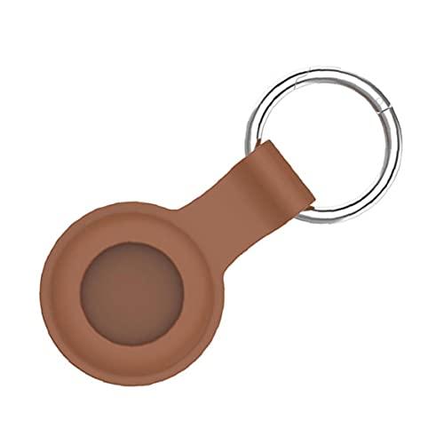 nJiaMe Piel Protectora de Silicona Compatible con Bluetooth Cubierta de la Caja Airtags Rastreador Cubierta Accesorios Airtags con Llavero Brown