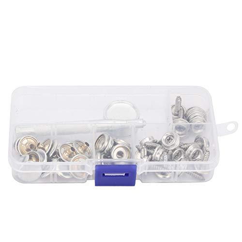 Changor Kit de botones automáticos de acero inoxidable, humedad corrosiva, 15 mm, no fácil de oxidar, acero marino con acero (plata)