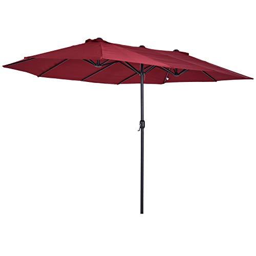 Outsunny Sombrilla Doble Parasol Grande 4.6x2.7m Sombrilla Jardín Patio con Manivela Manual Resistente al Agua y Protección Solar UV para Terraza Playa Piscina Rojo