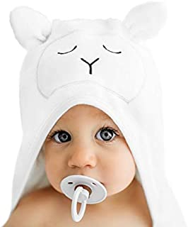 Lilyseed Premium Organic Hooded Baby Towel and Washcloth Gift Set - Ultra Soft Bamboo Baby Towels with Hood for Boys and Girls, Infants,Toddlers - Perfect Baby Shower Gift - Large Lamb Newborn Towel.
