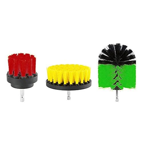 TUERSI 3Pcs 2/3.5/5 Inch Drill Cleaning Brush Kit Bristle Scrubber Bathtub Carpet Brush for Electric Drill