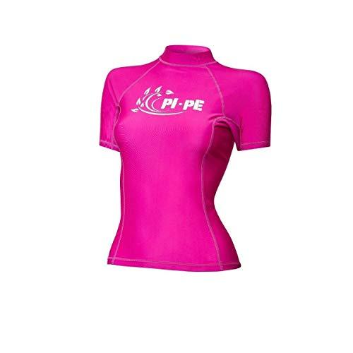 PI-PE Rash Guard UPF 50+ - Costume da bagno da donna, a maniche corte, in pizzo, rosa., XXS