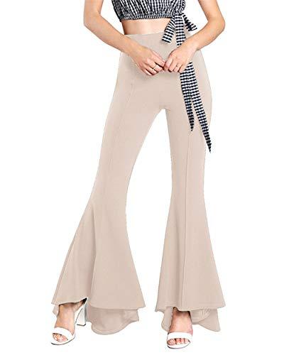 GODGETS Disfraz de Chica Guay de los 70, Pantalones de Campana,Albaricoque,3XL