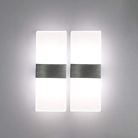 Glighone Applique Murale Intérieur LED Moderne 2*12W Acrylique en Aluminium Up Down Eclairage Décoration Carré Lumière pour Chambre Escalier Couloir Salon Salle Bar Retaurant Blanc Froid