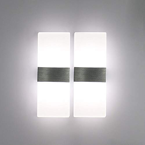 Glighone Applique Murale Intérieur LED Moderne 2 * 12W Acrylique en Aluminium Up Down Eclairage Décoration Carré Lumière pour Chambre Escalier Couloir Salon Salle Bar Retaurant Blanc Froid