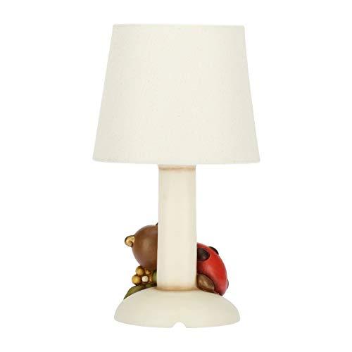 THUN® - Lampada da Comodino Bianca con Coccinella Portafortuna - Ceramica - Linea Autunno