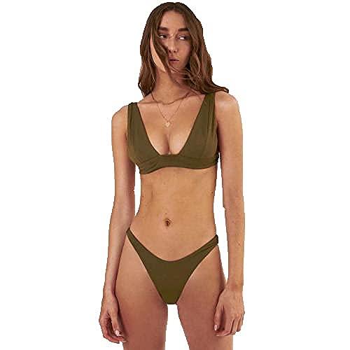 WZWHJ Hermosa ropa de playa deportiva, bikini sexy, traje de baño dividido de color sólido para mujer, traje de bikini de cintura alta retro (color: verde militar, tamaño: M #)