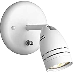 Progress Lighting P6154-30WB 1-Light Wall Mount Directional with OnOff Switch, White