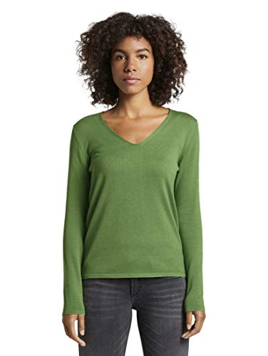 TOM TAILOR Damen Pullover & Strickjacken Pullover mit V-Ausschnitt Sundried Turf Green,L