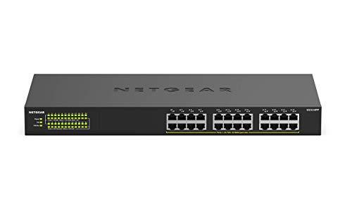 NETGEAR 24-Port Gigabit Ethernet Unmanaged PoE+ Switch (GS324PP) with 24 x PoE+ at 380 W, Desktop/Wallmount