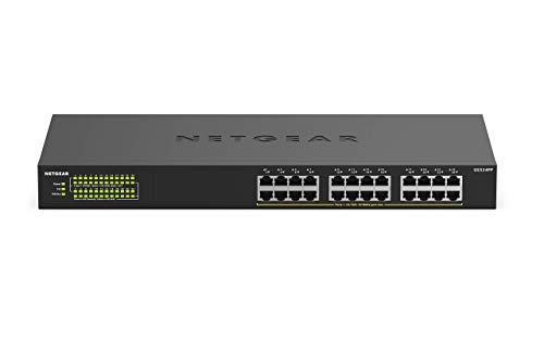 NETGEAR 24-Port Gigabit Ethernet Unmanaged PoE+ Switch (GS324PP) with 24 x PoE+ at 380 W, Desktop/Wallmount