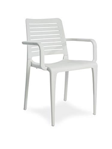 DCB GARDEN Park Fauteuil de Jardin, Blanc, 56x56,5x84 cm