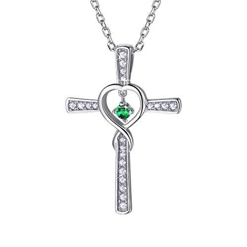 Suplight Damen Kreuz Kette 925 Silber Collier mit Anhänger Unendlichzeichen mit synthetischen Smaragd Phantasie Schmuck für Mädchen Geburtsstein des Monats Mai