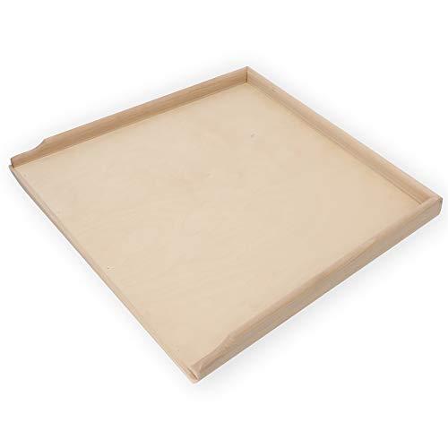 KADAX Holzbackbrett, Robustes Backbrett für Pizza, Lebkuchen, Nudeln, Brettchen mit Anschlagleisten gegen Verrutschen, Teigbrett, Nudelbrett (56 x 48,5cm)