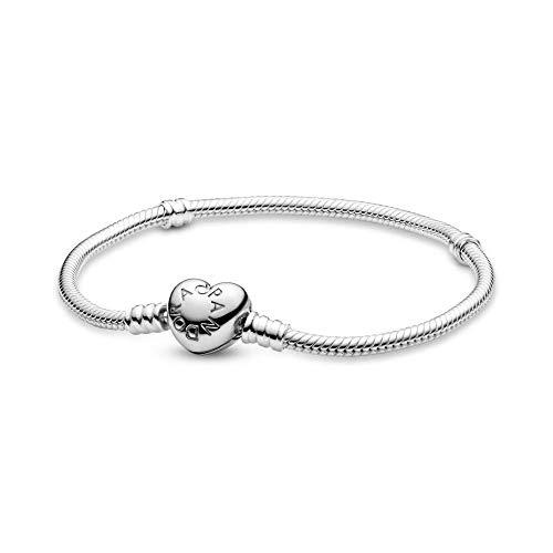Pandora Moments Schlangen-Gliederarmband mit Herz-Verschluss Sterling Silber 590719-20