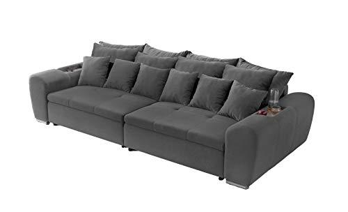 lifestyle4living Big Sofa in grau Web-Stoff mit Abstellfläche | XXL Couch inkl. 4 extragroßen Rücken-Kissen und hochwertiger Schaumpolsterung