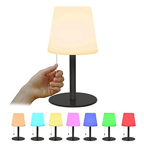 Lámpara LED de mesita de noche, 7 colores RGB recargable LED de luz nocturna, lámpara de mesa regulable portátil inalámbrica, lámpara de estado de ánimo para dormitorio de niños conclásica