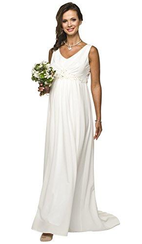 Torelle Maternity Wear Brautkleid für Schwangere Creme, ideal auch als Umstandsbrautkleid aus weich fließendem Chiffon, Modell: Michelle, Größe L
