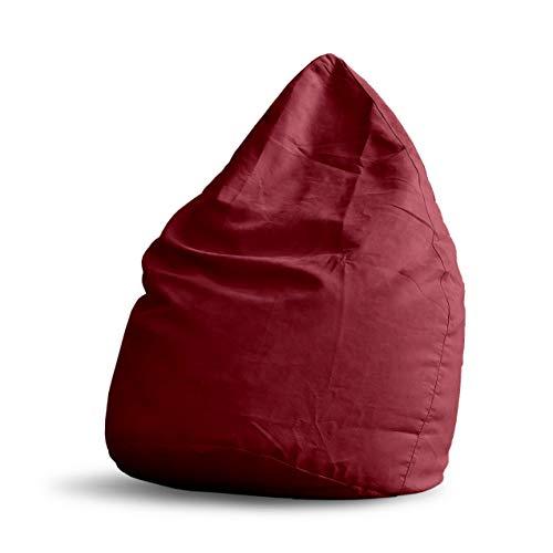 Lumaland Pouf Poire XL 220 L - Ligne Confort - Fauteuil Poire Adulte et Enfant pour Salon - 65 x 80 cm - Bean Bag Pouf Intérieur avec Coutures Solides - Rouge