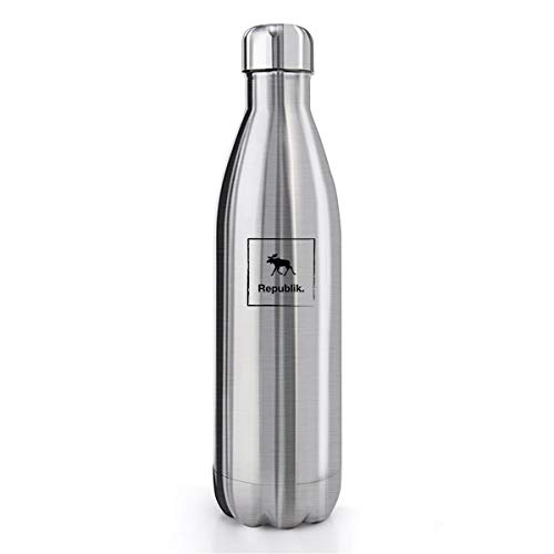 Republik Premium Stainless Steel Water Bottle- Double Wall Vacuum Insulated with Leak Proof Screw Top Lid and Wide Mouth Opening- 750ml Capacity Silver