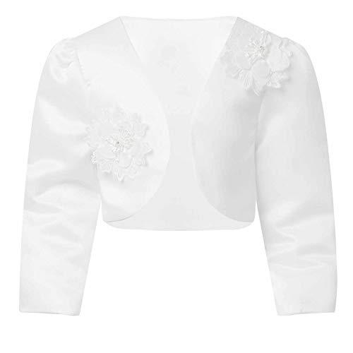 Agoky Cardigan Bambina Cerimonia Manica Lunga Principessa Bolero Cotone Floreale con Perline Coprispalle per Abito da Sposa Nuziale Sera Giacca Elegante White 8-9 Anni