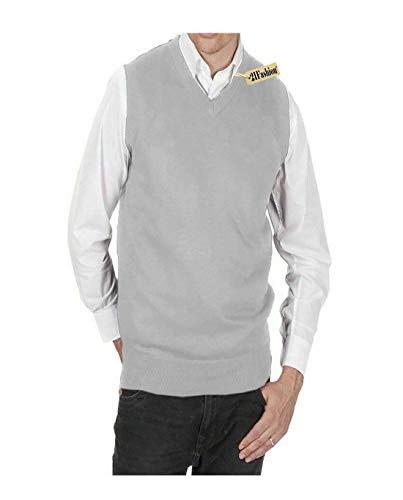 21Fashion Męski sweter bez rękawów z dekoltem w serek dzianinowy wsuwany dorośli golf odzież sportowa podkoszulek mały/5XL