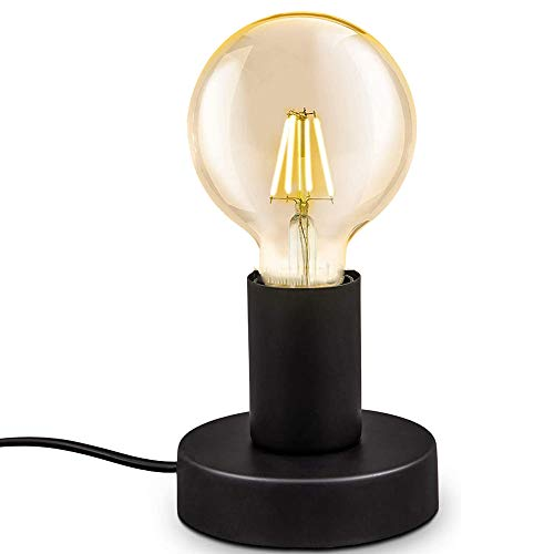 Chao Zan Lampada da tavolo,E27 lampadina,con spina interruttore sul cavo,diametro 10cm,abat-jour da comodino piccola in metallo nero opaco,luce da lettura vintage industriale,non inclusa lampadina