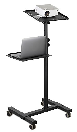 Mount-It! Mobile Projector and Laptop Stand (2 Shelves), Rolling Cart with Ventilated Tray, Heavy Duty, Height Adjustable Laptop and Projector Presentation Trolley, Black