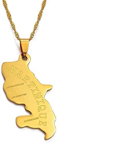 Yiffshunl Collar Martinica Collar Colgante Collar Dorado/Plata Mapa de Colores Damas/Hombres S Mapa Joyería Regalo # 003808 Collar Regalo