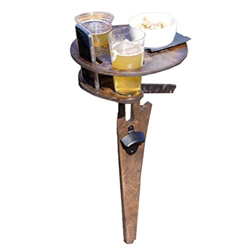 Mesa de vino plegable para exteriores, de doble capa, portátil, para picnic, estantería de madera para copas de vino con abridor de botellas para exterior, jardín, viajes, patio