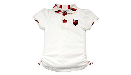 Camiseta Polo Manga Curta Flamengo, Rêve D'or Sport, Meninas, Branco, 3