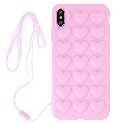 iPhone Xr Case for Women, DMaos 3D Pop Bubble Heart Kawaii Cover with Lanyard Wrist Strap, Cute Girly for iPhone 10r 6.1 inch - Pink