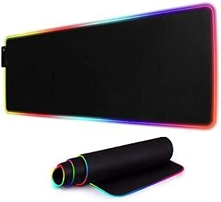 80 x 30 CM Multicolor LED Luminous Gaming Mouse Pad RGB Oversized Glowing Keyboard Mat - black